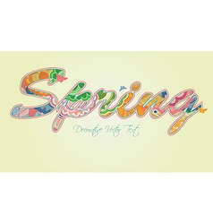 Decorative Spring Text with Transparency and vector image