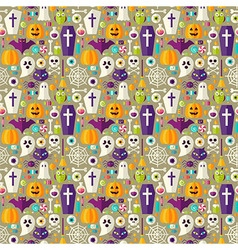 Flat beige halloween party seamless pattern vector