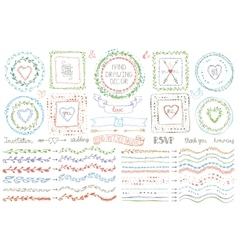 Hand drawn brusheswreath setcolored doodle decor vector