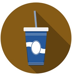 Flat design modern of drink icon with long shadow vector
