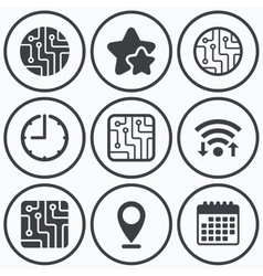 Circuit board signs technology scheme icons vector
