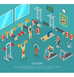 City Fitness Gym Center Isometric POster vector image