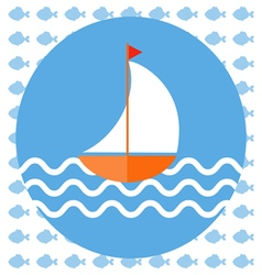 Abstract with a boat on blue water with wavess 4 vector