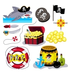 Funny pirate elements isolated on white background vector