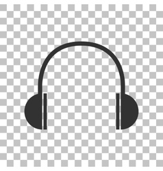 Headphones sign  dark gray icon on vector