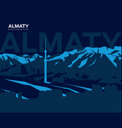 almaty mountains vector image vector image