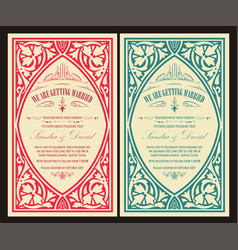 Baroque wedding card vector