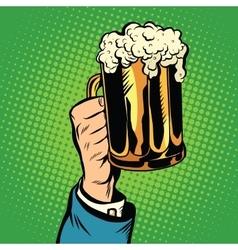 beer mug in hand pop art retro vector image vector image
