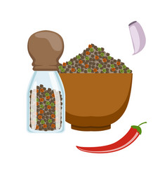 bowl and glass jar with colorful peppercorns vector image