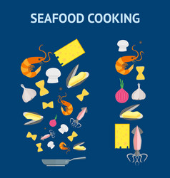 cartoon dish and ingredients set cooking seafood vector image