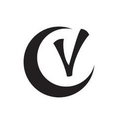 Checkmark and crescent icon simple style vector