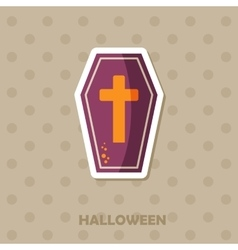 Coffin icon halloween sticker vector
