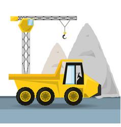 Dump truck under construction concept vector
