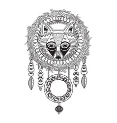 indian dream catcher with ethnic ornaments and fox vector image vector image