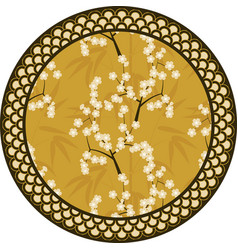 Japanese round pattern with bamboo sakura vector