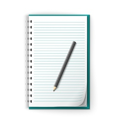 Lined notepad and pencil vector image