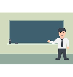 Male teacher and blackboard flat graphic vector