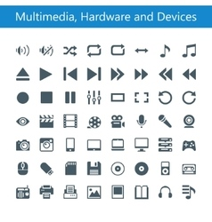Multimedia hardware and devices icons vector