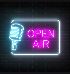 Neon open air signboard with microphone in vector