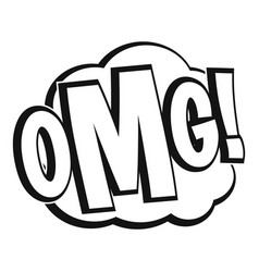 omg comic text speech bubble icon simple style vector image