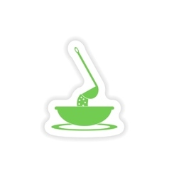 Paper sticker on white background dish soup vector