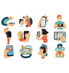 people with mobile phones set vector image vector image