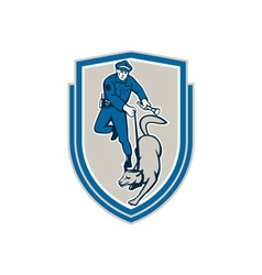 Policeman With Police Dog Canine Crest Retro vector image vector image