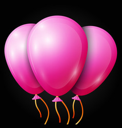 Realistic pink balloons with ribbon isolated vector