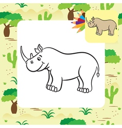 Rhino coloring page vector