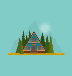 Secluded wooden hut in the middle of fir forest vector