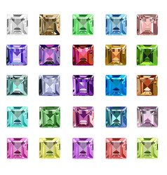 Set of precious stones of different colors vector