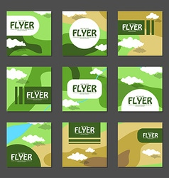 Set of square flyers with the area map in flat vector image vector image