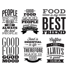 Set of vintage typographic food quotes to the menu vector
