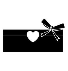 Silhouette love cardboard box bow romance present vector