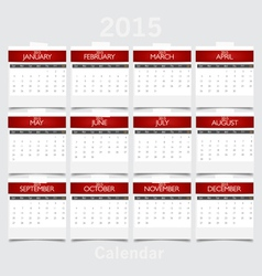 Simple 2015 year calendar vector image vector image