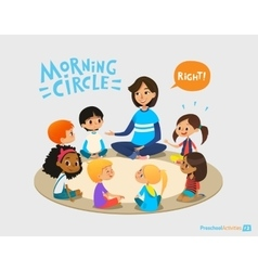 Smiling kindergarten teacher talks to children vector image