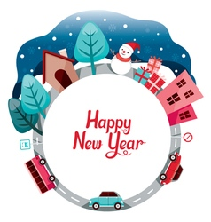 Snowman Gift Car And Building On Circle Frame vector image
