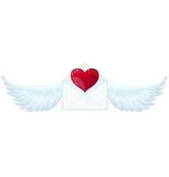 Valentine envelope with heart and wings vector image