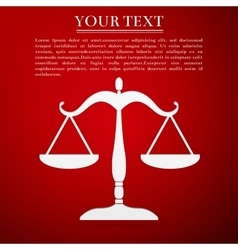 Justice scales silhouette flat icon on red vector