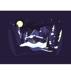 House in woods winter vector