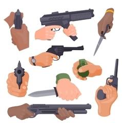 Hand firing with gun vector image