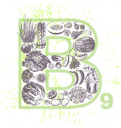 Ink hand drawn fruits and veggies vitamin b9 vector