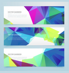 Abstract polygonal banners set with geometric vector
