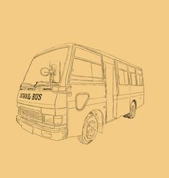 school bus in urban city sketch vector image
