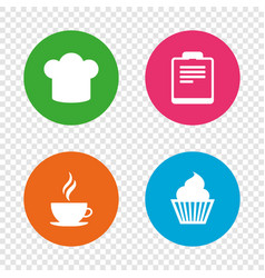 Coffee cup icon chef hat symbol muffin cupcake vector