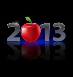 Twenty thirteen year red apple on black vector