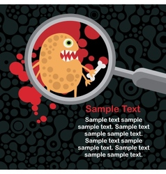 Magnifying glass and orange microbe in it vector