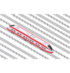 Isometric high-speed train on the tracks in the vector