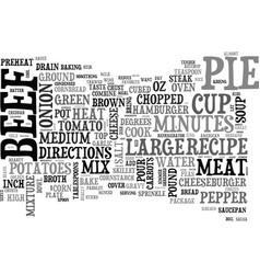 Beef pot pie recipe homemade beef pot pie text vector