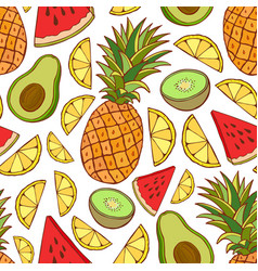 Fruits seamless pattern bright summer texture for vector